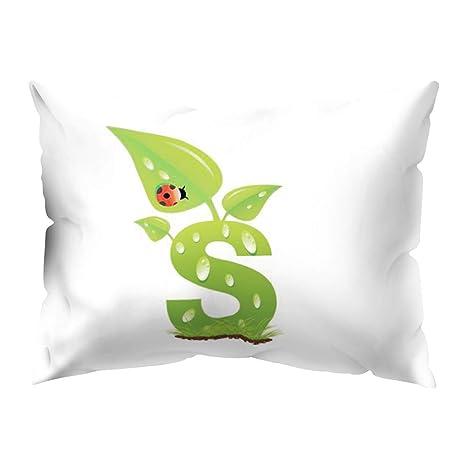 Amazon.com: Aland Creative Leaf A-Z - Funda de cojín, diseño ...