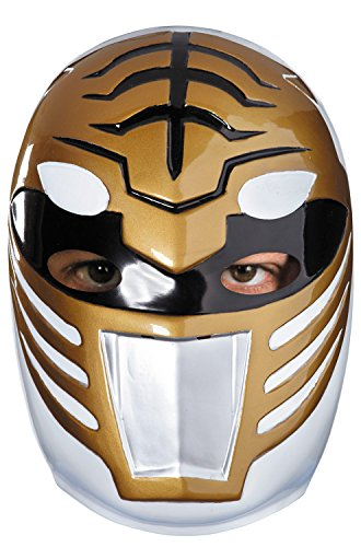 [Disguise Sabans Mighty Morphin Power Rangers White Ranger Vacuform Mask Costume Accessory, Gold/Silver/Black, One Size] (White Ranger Adult Costumes)