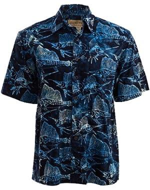 Sailfish Night Tropical Hawaiian Batik Shirt By Johari West