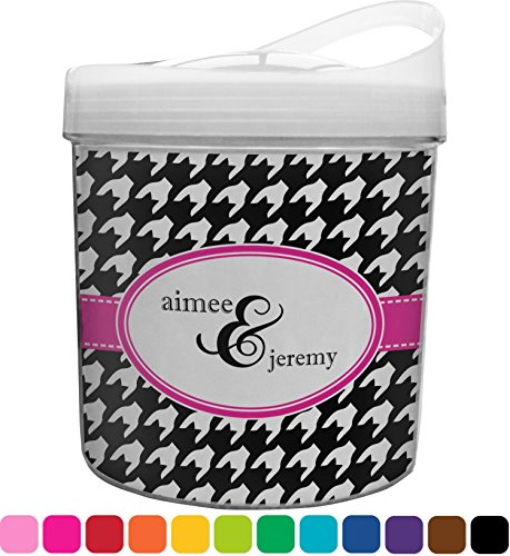 Houndstooth w/Pink Accent Plastic Ice Bucket (Personalized)