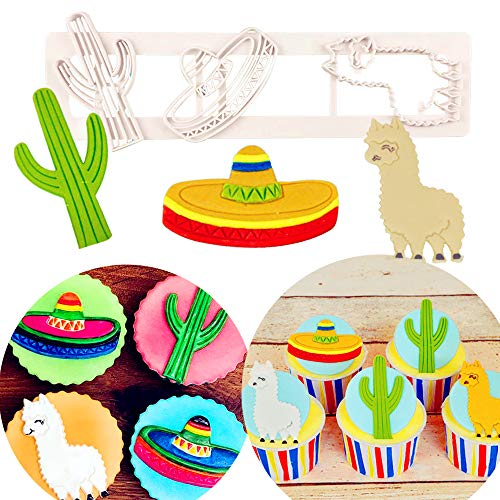 JeVenis First Birthday Llama and Cactus Cake Decoration Llama Cactus Fondant Mold Mexican Fiesta Cupcake Mold Sugar craft Cupcake Cake Projects for Mexican Fiesta Theme Party Baby Shower Birthday Part -