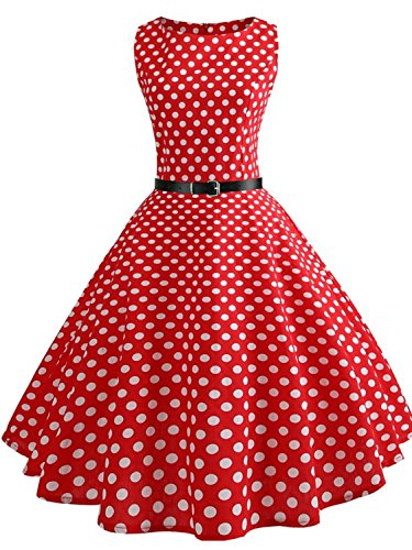 Ladies Soft Vintage Ploka Dot Red Casual Swing Cocktail Dress(Re+White Dot,S)