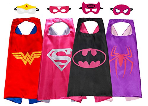 Superhero Capes And Mask Party Supplies Dress Up Costumes 4 Set For Girl (Super Hero Dress Up)