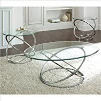 Steve Silver Company Orion 3 Pack Chrome Cocktail and End Tables Set with Glass Top
