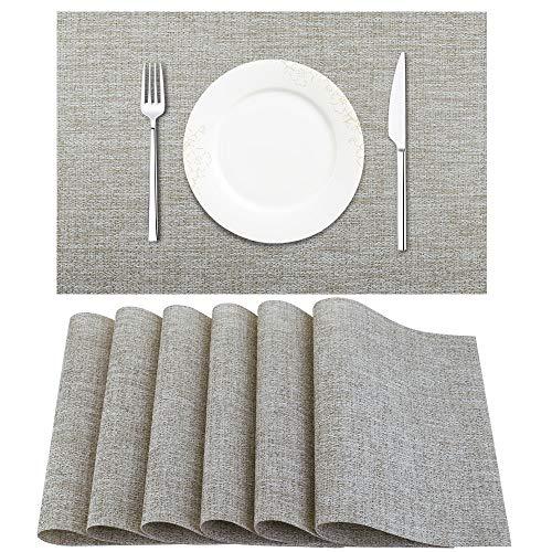 BETEAM Placemats, Heat-Resistant Placemats Stain Resistant Anti-Skid Washable PVC Table Mats Woven Vinyl Placemats, Set of 6(Beige White) (Placemats Beige)