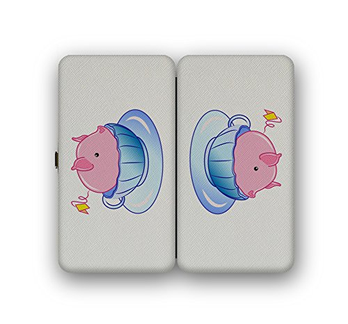 Teacup Pig In A Blue Teacup Cute And Adorable - Taiga Hinge Wallet