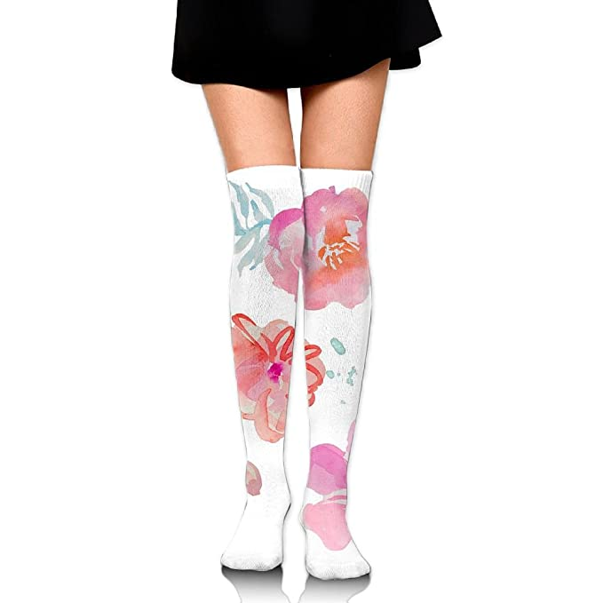 fdb3eb91227 Amazon.com  Chinese Pastel Water Colors Print Over The Knee Long Socks Tube  Thigh-High Sock Stockings For Girls   Womens  Clothing