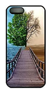 iPhone 5 5S Case Landscapes tree 2tone dock PC Custom iPhone 5 5S Case Cover Black