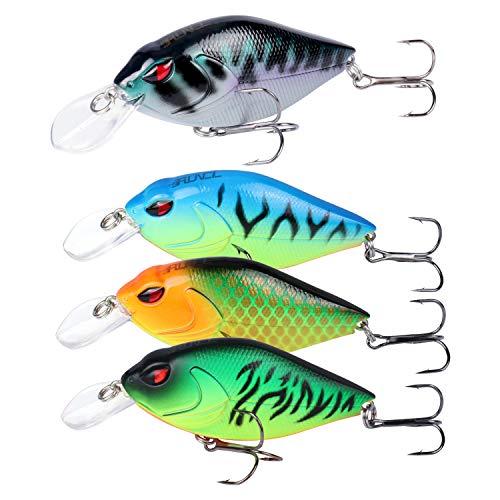 RUNCL Anchor Box - Shallow Running Crankbaits SC150, Wobbler Fishing Lures, Hard Fishing Lures (Pack of 4)