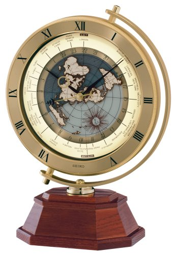 Seiko Mantel Automatic World Timer Clock Brown Wooden Base with Gold-Tone Coin Edge Metal Case
