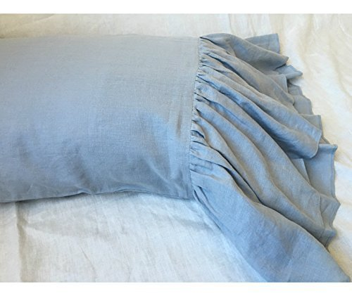 A pair of Duck Egg Blue Linen Pillow Covers with mermaid long ruffles, Shabby Chic Pillow Cases, Pillow Cover, Pillow Protector, Custom Pillow Covers, Handmade 100% Flax Linen, FREE SHIPPING