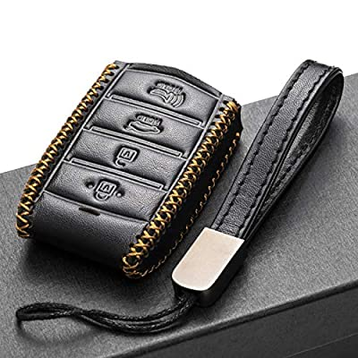 Vitodeco Genuine Leather Smart Key Fob Case Cover Protector with Leather Key Chain for 2020-2020 Genesis G70, G80, G90 (4-Button with Tailgate, Black): Automotive