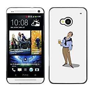 Shell-Star Arte & diseño plástico duro Fundas Cover Cubre Hard Case Cover para HTC One M7 ( Beer Man Art Drawing Holiday Relaxed )