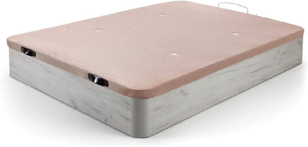 HOGAR24 ES Canapé Abatible de Madera de Gran Capacidad Tapa 3D Transpirable, Color Blanco Vint, 150x200cm