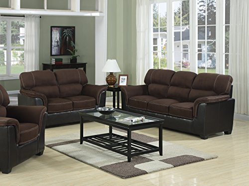 GTU Furniture Microfiber Two-tone Sofa & Loveseat 2pc Sofa Set Living Room Furniture (Chocolate)