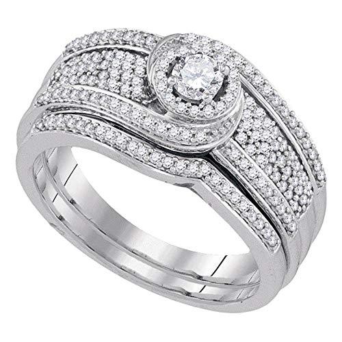 Diamond Swirl Engagement Ring + Wedding Band Bridal Set 1/2ct 10k White Gold ()