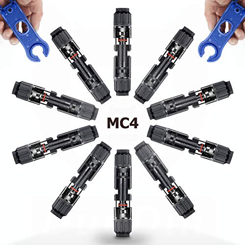 SolaMr 10 Paare MC4 Solarstecker Solarpanel-Steckverbinder Männlich Weiblich Steckverbinder mit Schraubenschlüssel für Photovoltaik-Solaranlagen - 10 Paare