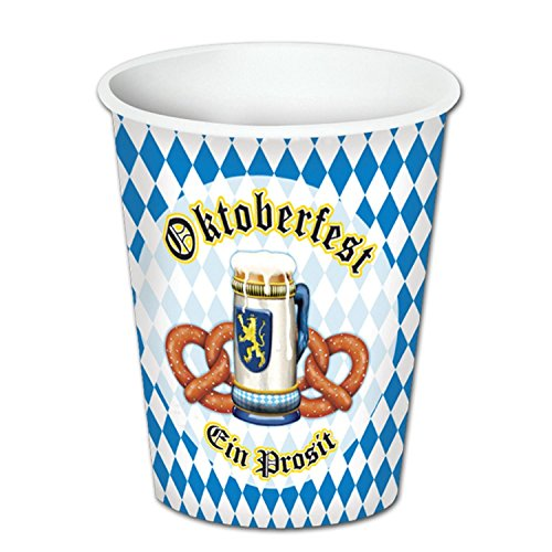 Club Pack of 96 Oktoberfest Disposable Hot and Cold Paper Beverage Cups 9oz.