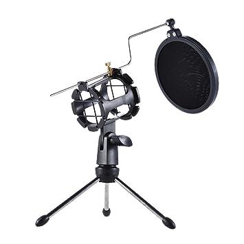 Mikrofon Stativ Faltbare Desktop Mikrofon Halterung Mit Shock Mount Mic Halter Clip Und Pop Filter Unterhaltungselektronik