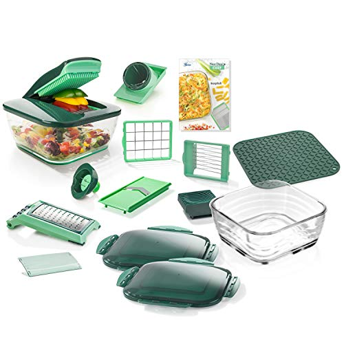 Genius Nicer Dicer Chef, 18 Pieces,Glass Bowl Set, Fruit and Vegetable...