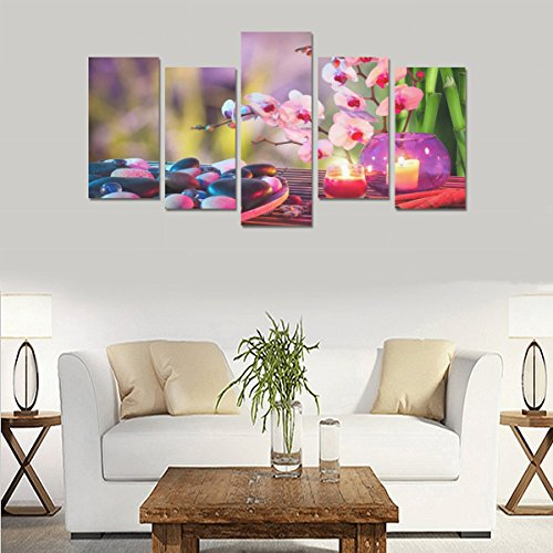 Personalized Oil Painting Art stones candles orchids towels bamboo bokeh mood 100% Canvas Material Canvas Print Home Bedroom Wall Art Living Room Fashion Decor 5 Piece Canvas painting (No Frame) by sentufuzhuang Canvas Printing