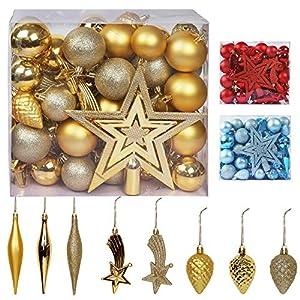 Best Epic Trends 51bqxiklXJL._SS300_ Blissun Christmas Ball Ornaments, 60ct Christmas Ornaments for Christmas Trees, Shatterproof Christmas Decorations…