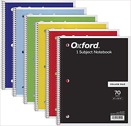 8 x 10-1//2 TOPS//Oxford 1-Subject Notebooks 65007 College Rule Color Assortment May Vary 70 Sheets 6 Pack - 1