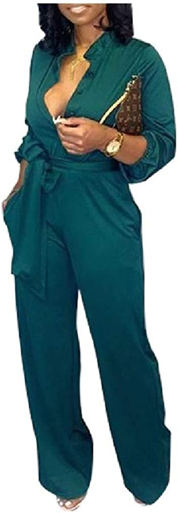 Zimaes-Women Wide Leg Button Belted Long-Sleeve Rompers Autumn Jumpsuit