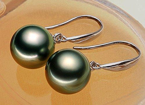 Fashion 10mm Tahitian Black South Sea Shell Pearl Drop Dangle Earring -