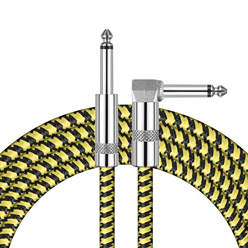 - Amumu Instrument Cable 1/4 Inch TS Straight to Straight-Angle Black Yellow Tweed Woven Jacket 16 Feet / 5 Meters