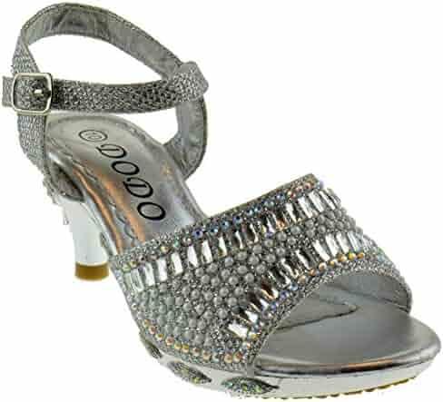ee4a32e967b Lucita 150-8GKM Little Girls Rhinestone Heel Platform Dress Sandals Black