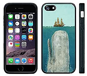 Apple iPhone 6 4.7 inch Black Rubber Silicone Case - Moby Dick Whale coming up to sail boat