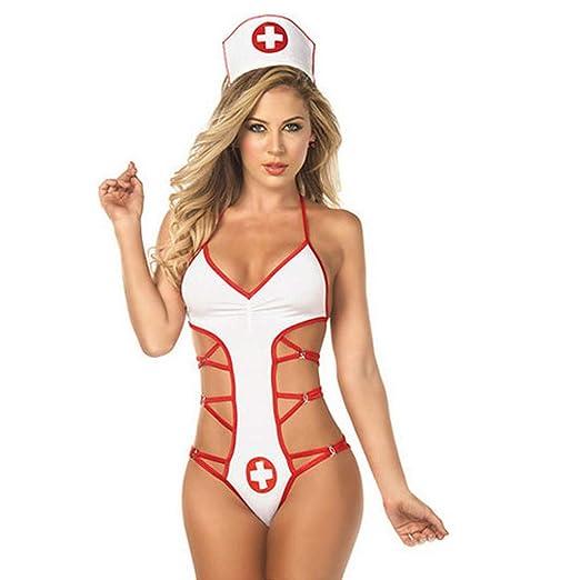 6692f0d4696 poedkl Ladies Sexy Button Nurse Suit Lingerie Sleepwear Lingerie Button  Temptation Nurse Uniform Underwear (M