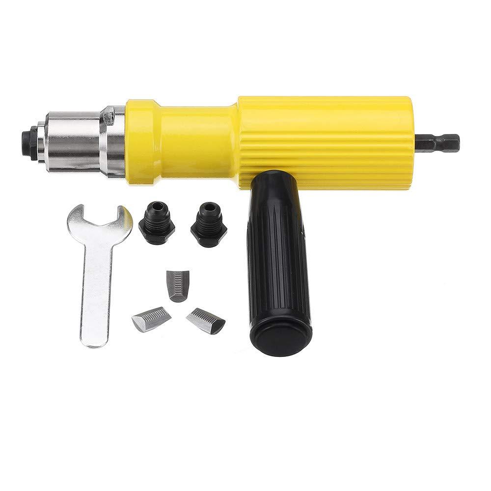 Artensky Rivet Adapter Electric Rivet Nut-Gun Riveting Tool kit for Drill Insert Riveter Yellow