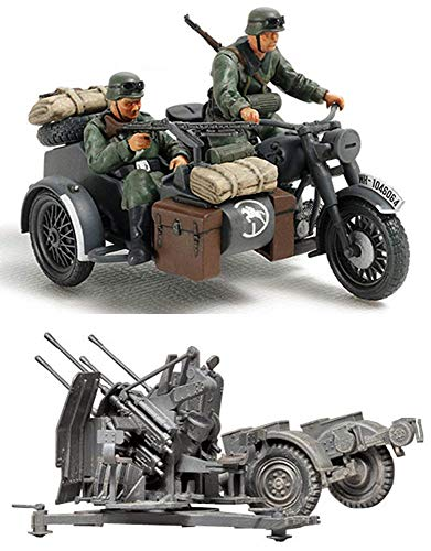(2 Sets of Tamiya Military Assembly Models - German Weapons - Motorcycle and Sidecar and 20 mm Quad Flak (Flakvierling) (Japan Import))
