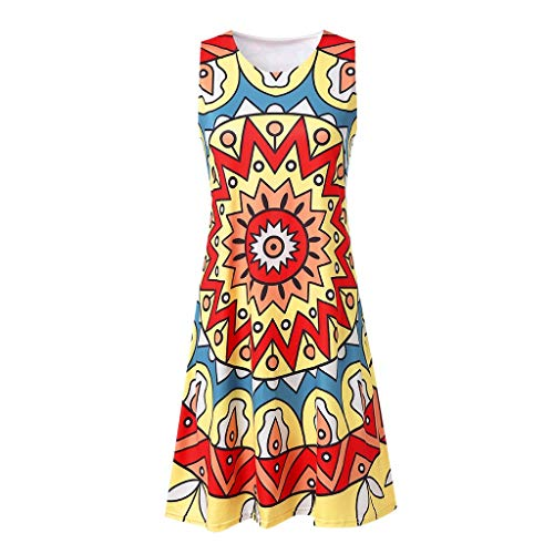 (Dressin 2019 Women's Loose Dress Sleeveless Round Neck Summer Colorful Print T-Shirt Tops Blouse Dress for Women)