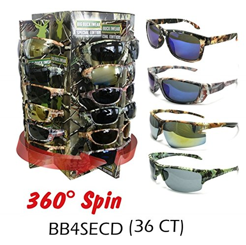 Shark Eyes Wholesale Camouflage Assorted Sunglasses 36 pieces with Spinning - Sunglasses Camo Wholesale