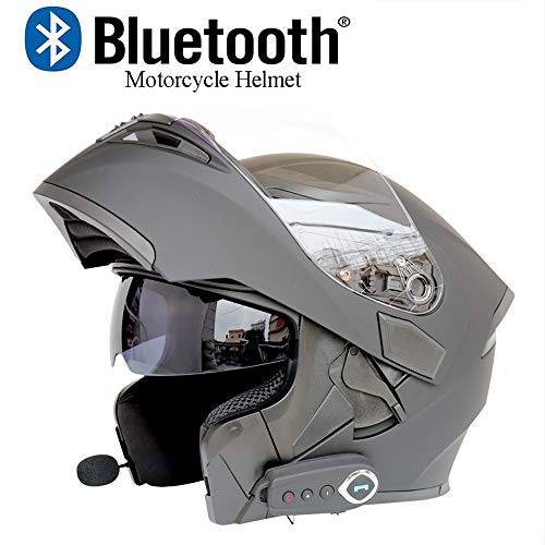 DYM258 Modular Motorcycle Helmets Bluetooth+FM DOT Certification Flip Up Touring Helmets Built-in Dual-Speaker Bluetooth Headset with Microphone for Automatic Answering,Black,L(59~60CM)