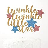 NANASUKO Cake Topper - twinkle twinkle little star - Premium quality Made in USA - gold glitter with pink and blue stars