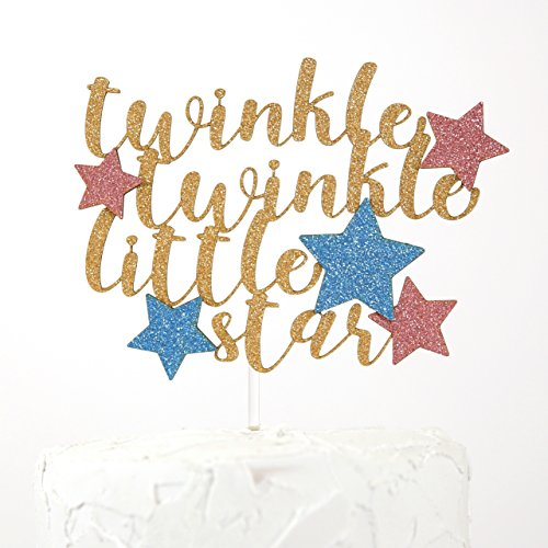 NANASUKO Cake Topper - twinkle twinkle little star - Premium quality Made in USA - gold glitter with pink and blue -