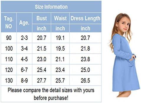 2331854029 Arshiner Little Girls Long Sleeve Solid Color Casual Skater Dress ...