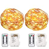 EOTW 2Pack Fairy Lights Battery Operated with Remote 100Led String Lights 8Modes Waterproof Copper Wire Lights for Bedroom Outdoor for Party Christmas Halloween DIY Decor Wedding (2Pack Warm White)