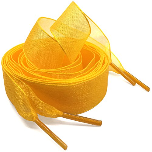 Golden Snow - Flat Snow Yarn Shoelaces Golden for Women WEGOODZF 2cm Wide Shoe Laces Girls[2 Pair 63