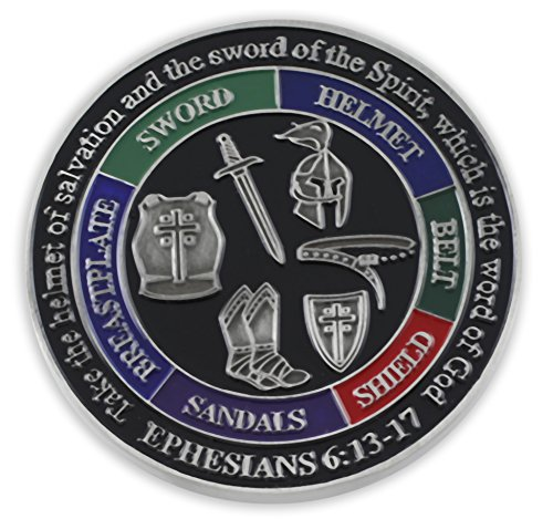 Put On The Whole Armor Of God EPH 6:13-17 Enamel 3D Challenge Coins (Antique Silver (1 (Silver Finish Challenge Coin)