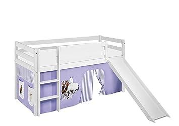 Etagenbett Weiß Mit Rutsche : Lilokids spielbett jelle pferde lila beige hochbett weiß mit