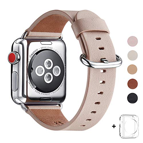 (WFEAGL Compatible iWatch Band 42mm 44mm, Top Grain Leather Band Replacement Strap for iWatch Series 4,Series 3,Series 2,Series 1,Sport, Edition (Pink Sand Band+Silver Buckle, 42mm 44mm))