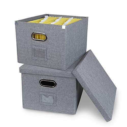 ATBAY Storage File Box Collapsible Large Capacity Office File Organizer for Letter/Legal Size Hanging File Folder Box, Gray 2Pack