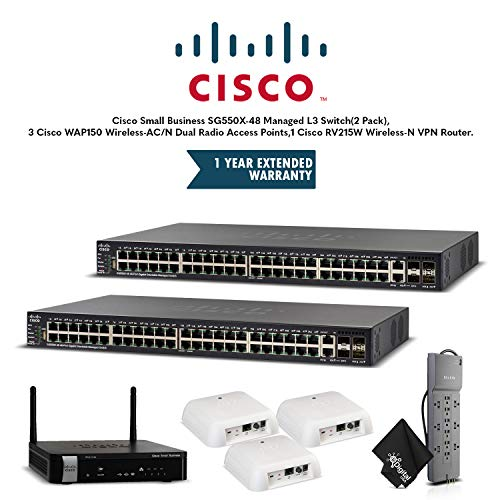 Cisco Small Business SG550X-48 Managed L3 Switch(2 Pack), 3 Cisco WAP150 Wireless-AC/N Dual Radio Access Points,1 Cisco RV215W Wireless-N VPN Router, 1 Year Extended Warranty and Powerstrip (Na A-k9 Rv215w)