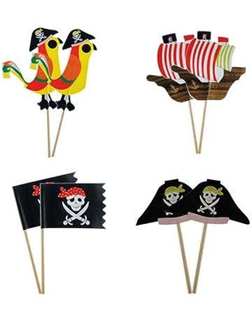 Amosfun 80 unids Cake Topper Pirata Cupcake Topper cóctel Palillos para Tema Pirata Suministros de Fiesta