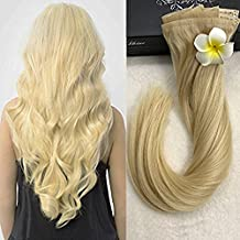 Full Shine 8 Pieces 18 inch 120g Seamless Blonde 613 Clip Hair Extensions Glue in Remy Hair Extensions With Clip on 100 Real Human Hair Straight Clip in Extensions